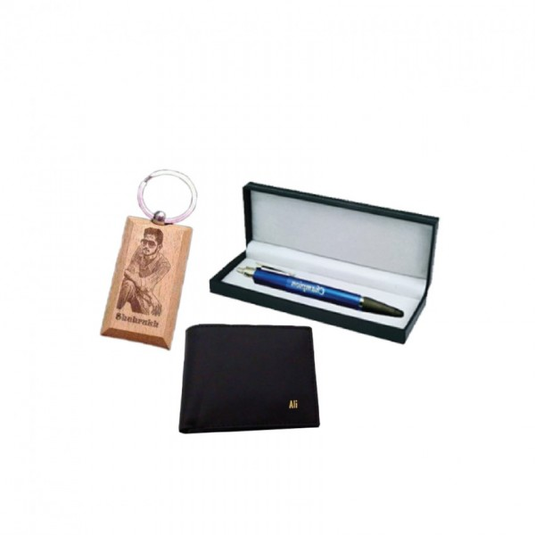 Gift Set of Customized Products (wallet - Leather key-chain and watch