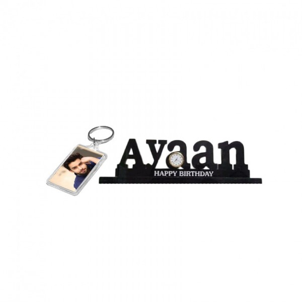 Combo of Acrylic Picture Keychain and Acrylic Name Clock