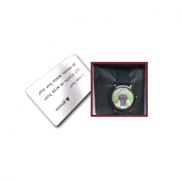 Combo of Customized Picture Watch and Personalized Message Metalcard