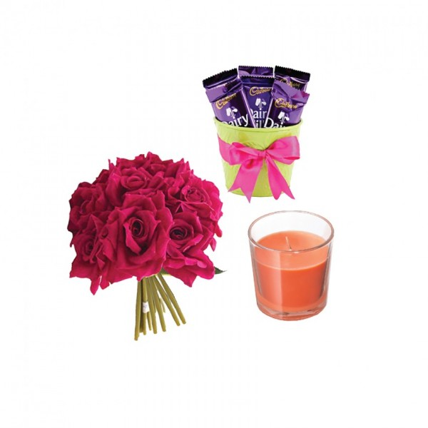 Chocolates and Roses Scented Candles 3 Chocolates and 5 artificial Red Roses
