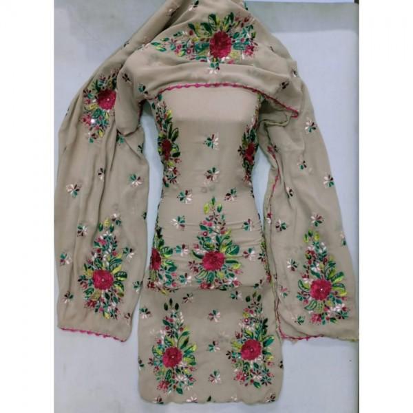Pakka Tanka Hand Work Georgette Chiffon Stuff 2pc Suit