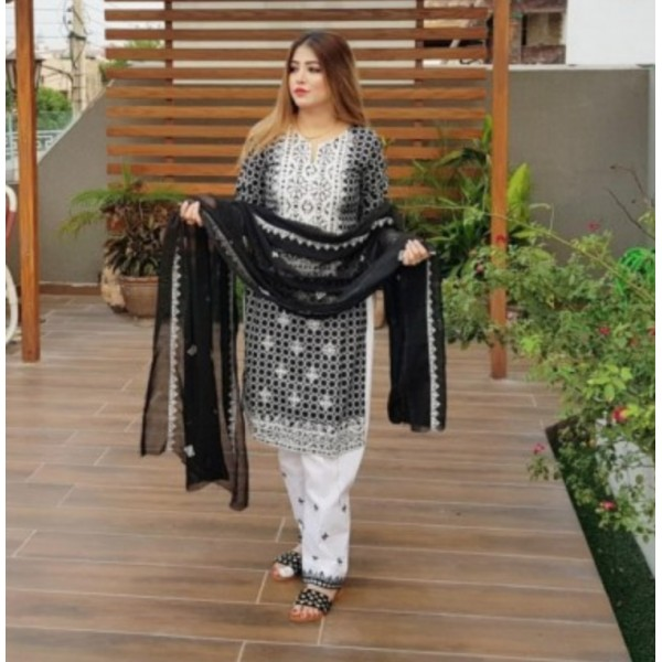 Original Rotri Black Linen Embroidered Dress