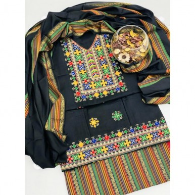 Latest Embroidered Sussi dress embroidered with Multi color Gala work