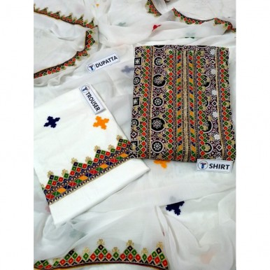 Ajrak Printed Embroidered lawn shirt and Lawn Embroidered Trouser