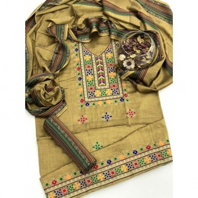 Sussi Collection embroidered gala and border with Banarsi touch wool Shawl
