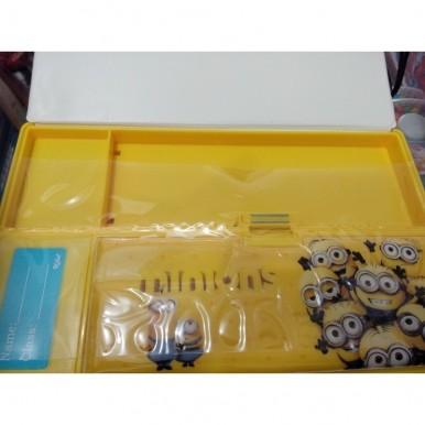 Large Button Minions fancy pencil box for kids