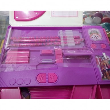 Large Button Barbie fancy pencil box with calculator for kids