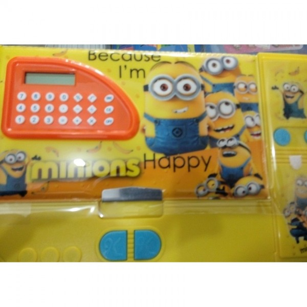 Large Button Minions fancy pencil box with calculator for kids