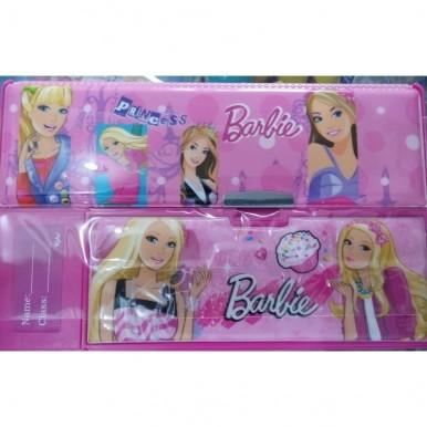 Large Button Barbie fancy pencil box for kids