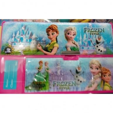 Large Button Frozen fancy pencil box for kids