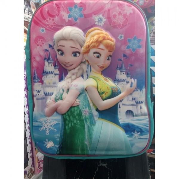 3D-Cartoon Character Elsa Trolley School Bag for girls