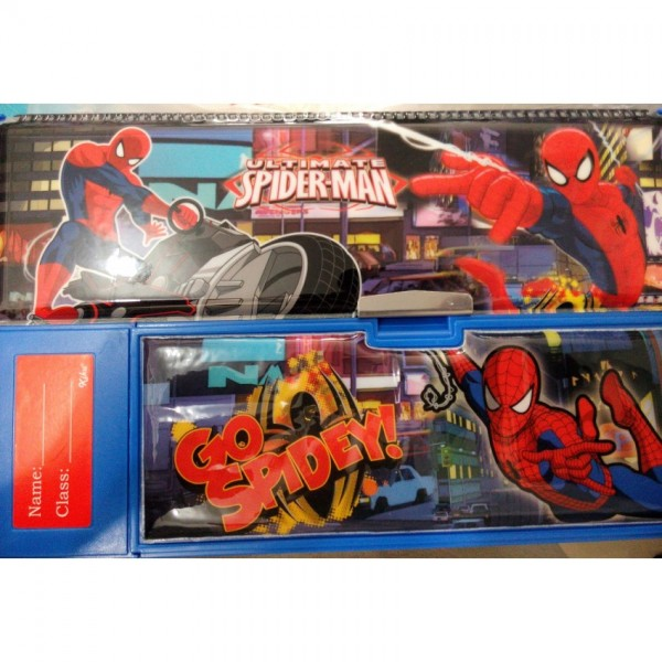Large Button Spiderman fancy pencil box with calculator for kids