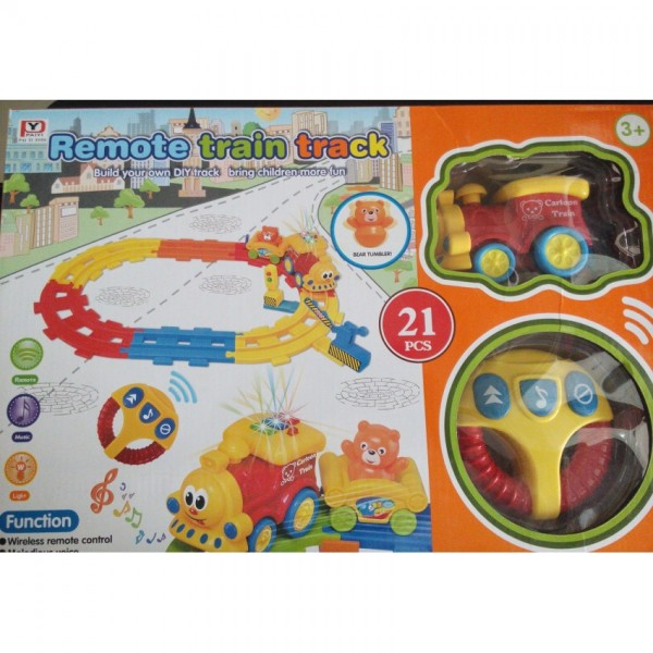21pcs - Battery Operated Remote Control Train Set for Kids
