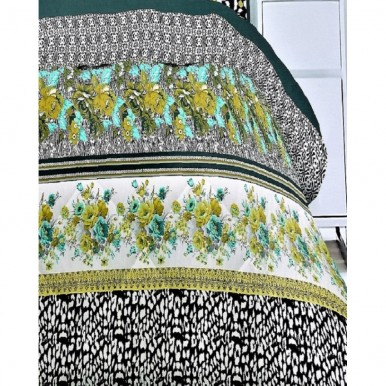 Black and Green Cotton Printed King Size BedSheet with 2 Pillow Covers