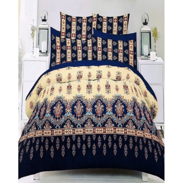 Blue and Yellow Cotton King Size Bed Sheet with 2 Pillow Covers