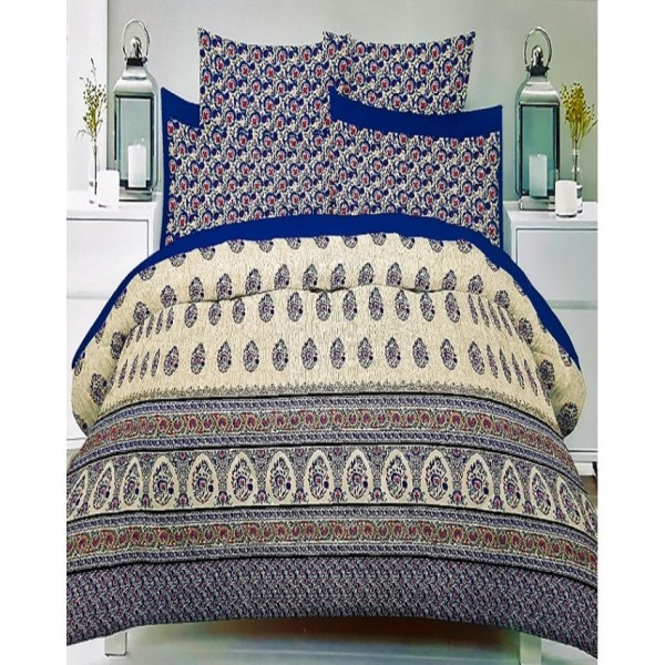Multicolor 3D Cotton King Size Bed Sheet with 2 Pillow Covers in Blue colour