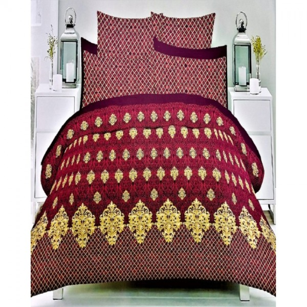 Dark Red and Yellow Cotton Printed King Size BedSheet with 2 Pillow Covers