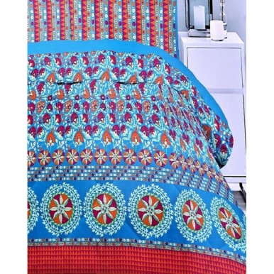 Ferozi and Red Cotton King Size BedSheet with 2 Pillow Covers
