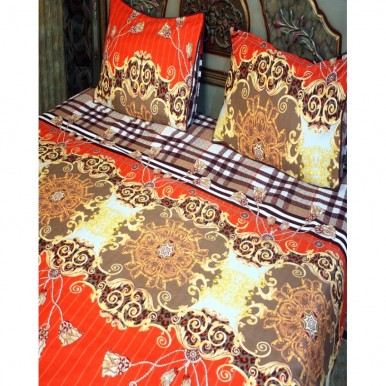 Orange and Gold Cotton BedSheet with 2 Pillow Covers