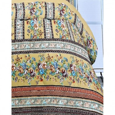 Orange Brown and Yellow Cotton Printed King Size BedSheet with 2 Pillow Covers