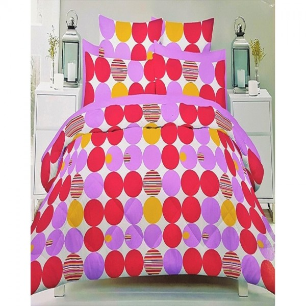 Pink and Purple Cotton King Size Bed Sheet with 2 Pillow Covers