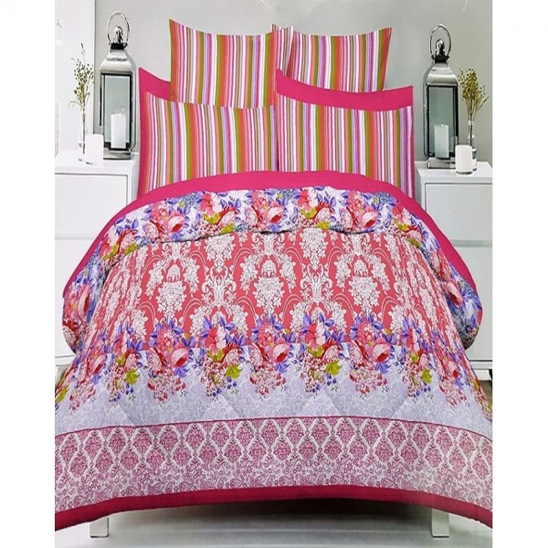Multicolor 3D Cotton King Size Bed Sheet with 2 Pillow Covers in Pink Colour