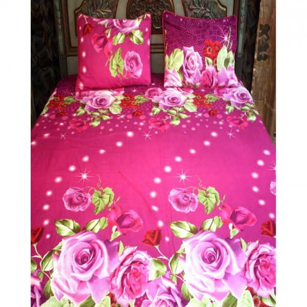 Pink Cotton BedSheet with 2 Pillow Covers