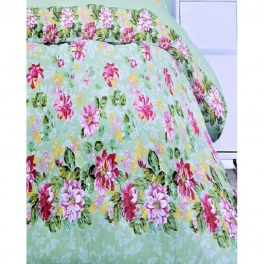 Pink and Light Green Cotton King Size BedSheet with 2 Pillow Covers