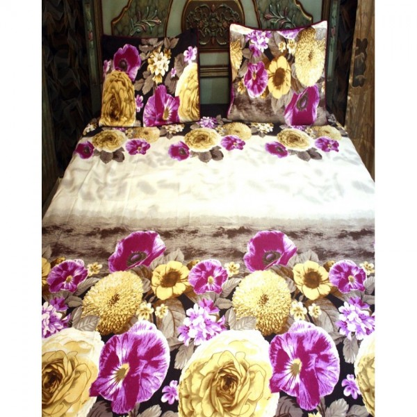 Purple and Yellow Cotton BedSheet with 2 Pillow Covers