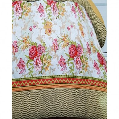 Red and Pink Cotton King Size Bed Sheet wth 2 Pillow Covers