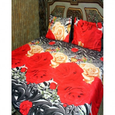 Red and Yellow Cotton BedSheet with 2 Pillow Covers