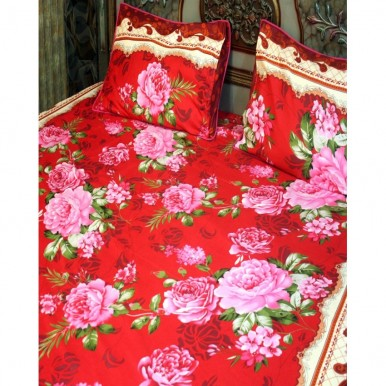 Red Cotton BedSheet with 2 Pillow Covers