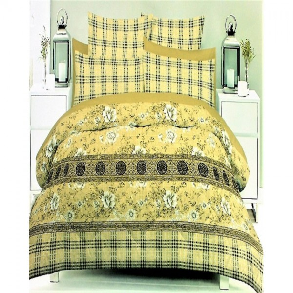 Multicolor 3D Cotton King Size Bed Sheet with 2 Pillow Covers in Yellow Colour