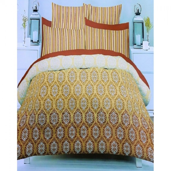 Yellow and Brown Cotton King Size BedSheet with 2 Pillow Covers