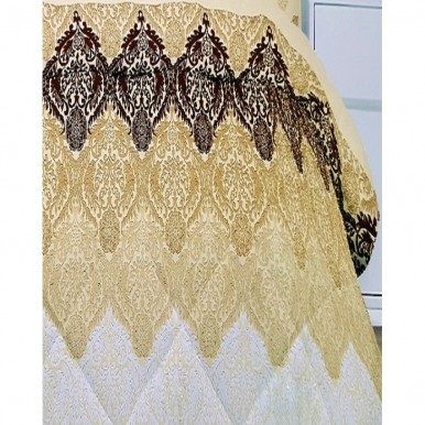 Golden and Brown Cotton Printed King Size Bed Sheet with 2 Pillow Covers