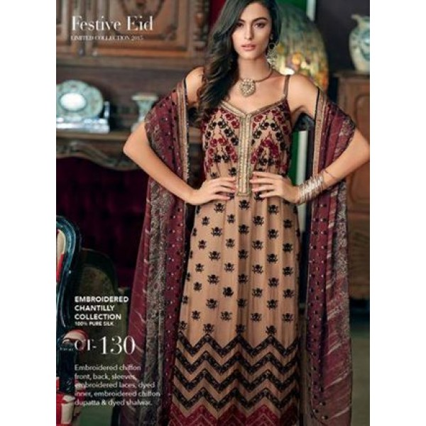 Embroided Chiffon Ladies Dress - Eid Collection 2015
