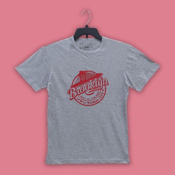 Heather Grey Brooklyn Printed T Shirt For Him