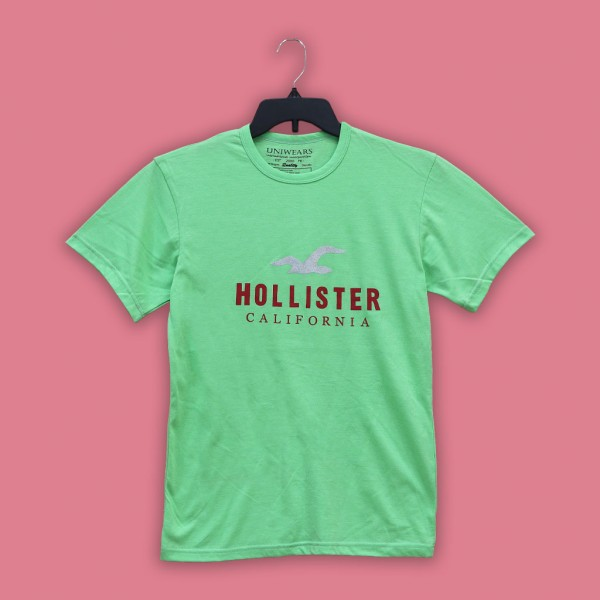 Hollister Printed T Shirt For him in Parakeet Green Color