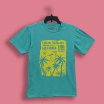 Aqua Green California Beach Printed T Shirt For Him