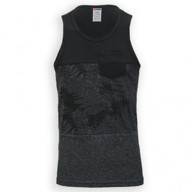 Charcoal Black Cotton Tank Top For Men