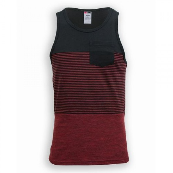 Charcoal Red Cotton Tank Top For Men