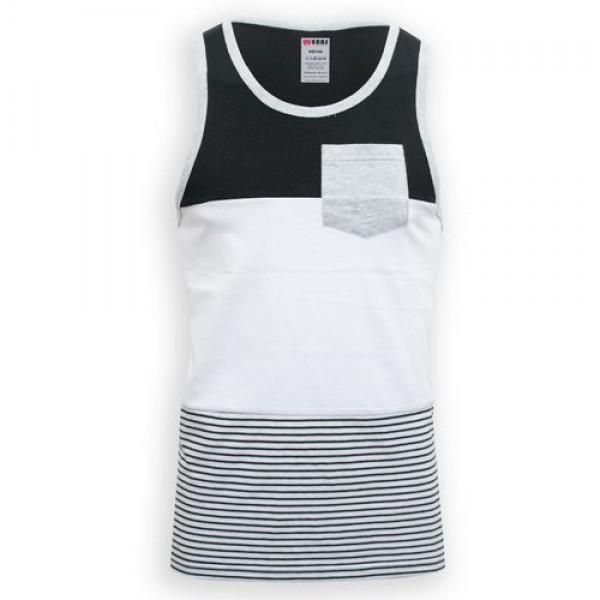 Black White Lineup Cotton Tank Top For Men