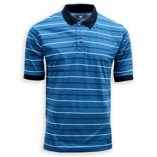 Branded Mens Blue Stripped Cotton Polo Shirt