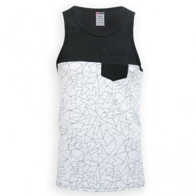 White Shatter Cotton Tank Top For Men