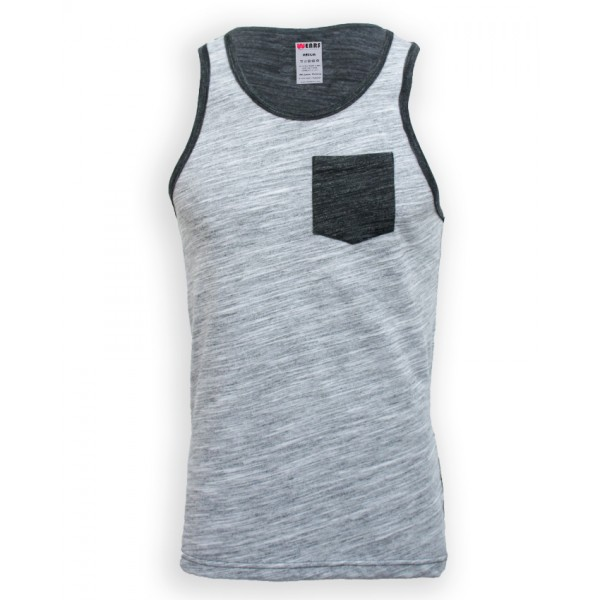 Textured Black and Grey Tank Top for Boys