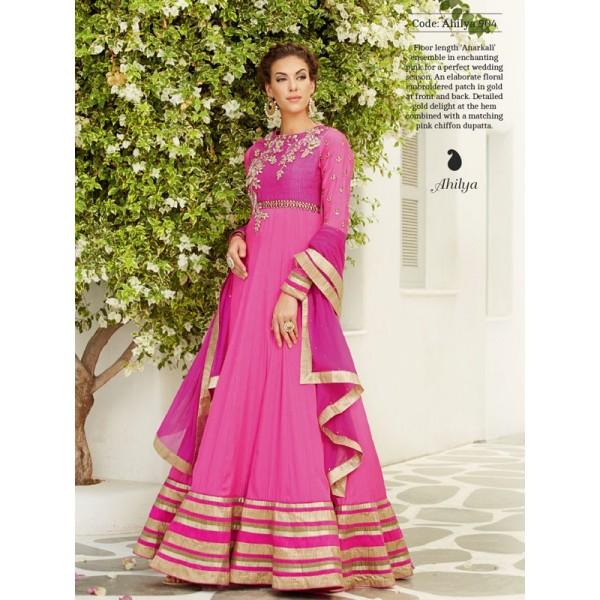 AHILYA ANARKALI FROCK PINK GOLD LONG LENGTH SILK SATIN WEDDING DRESS