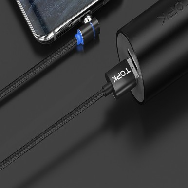 TOPK L-Line 1m 90 Degree L Type Magnetic Cable Micro USB Nylon Braided LED Indicator Micro USB Cable For USB Devices
