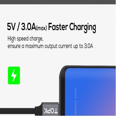 TOPK D-Line2 USB Type C Cable,Voltage and Current Display Type-C Fast Charging Data Sync USB-C Cable for Xiaomi A1 Samsung S9