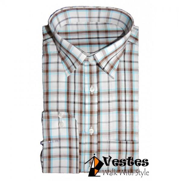 WHITE MULTI CHECK DRESS SHIRT-W6561