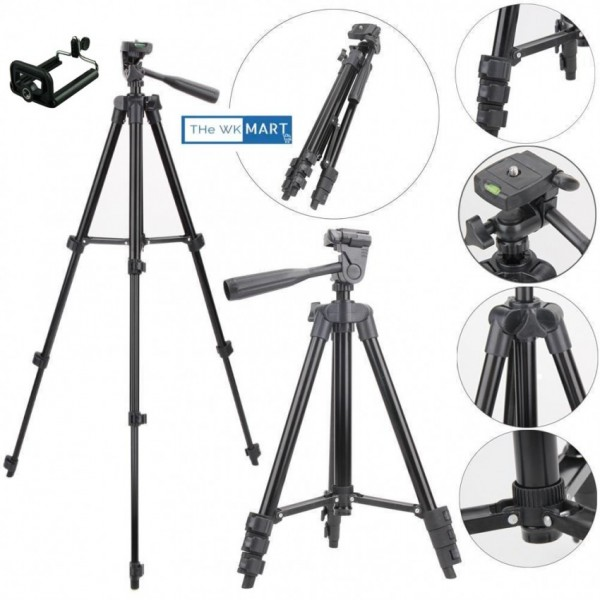 Built In Level 3-Way Tripod Stand For DSLR Camera And Mobile Foldable TriPod Full Length with DSLR Mobile Mount